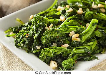 sauteed, verde, rabe, broccolo, casalingo