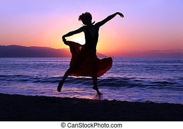 sauter, à, coucher soleil