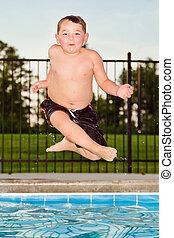 sauter, aller, pendant, natation, été, enfant, piscine, promenade, quoique