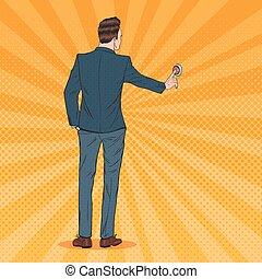 sauter art, homme affaires, urgent, a, rouges, button., urgence, call., vecteur, illustration