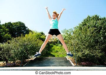 sauter, athlète, angle, ciel, fond, bas, coup