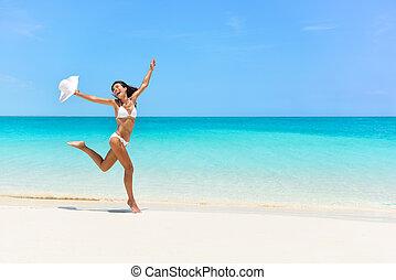 sauter, blanc, joie, heureux, bikini, plage, femme