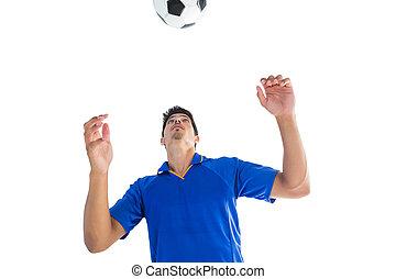 sauter, boule football, bleu, joueur