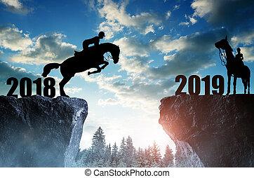 sauter cheval, année, nouveau, 2019., cavalier
