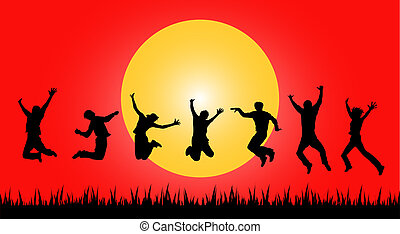sauter, coucher soleil, gens