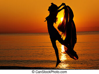 sauter, coucher soleil