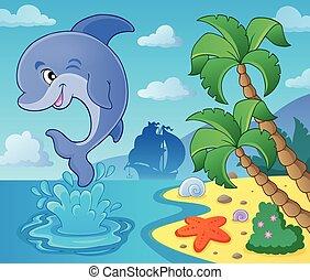 sauter, dauphin, thème, image, 4