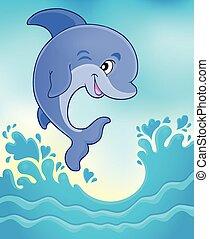 sauter, dauphin, thème, image, 6