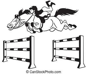 sauter, dessin animé, cheval