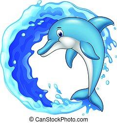 sauter, dessin animé, dauphin, icône