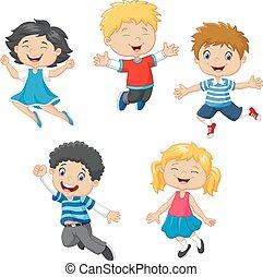 sauter, enfants, ensemble