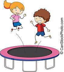 sauter, enfants, trampoline
