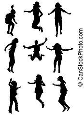 sauter, ensemble, enfants