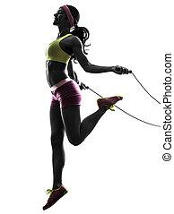 sauter, exercisme, silhouette, corde, femme, fitness