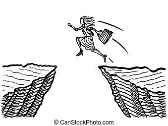 sauter, falaise, femme affaires, dessiné
