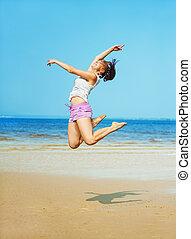 sauter, femme, plage