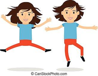 sauter, filles, heureux