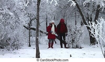 sauter, filles, neige, heureux