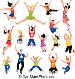 sauter, gens, ensemble, isométrique, heureux