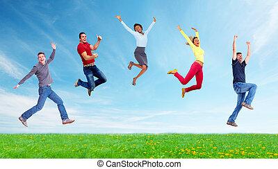 sauter, gens, heureux, group., courant