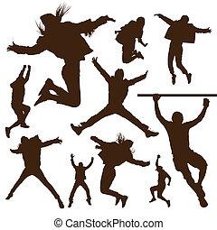 sauter, gens, silhouette