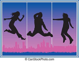 sauter, gens, ville