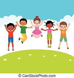 sauter, groupe, enfants, heureux