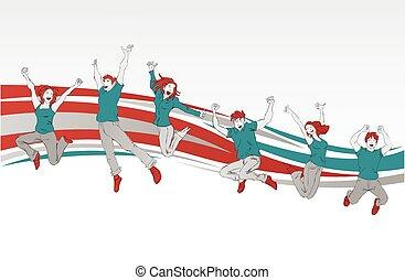 sauter, heureux, gens