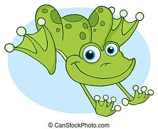 sauter, heureux, grenouille