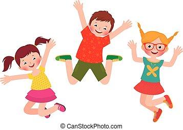 sauter, heureux, isolé, enfants