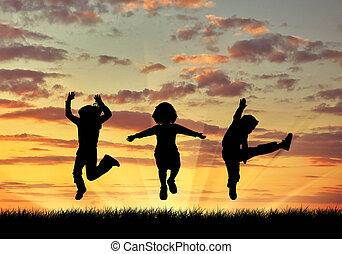 sauter, heureux, silhouette, enfants