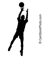 sauter, joueur, silhouette, prise, korfball, hommes, balle, ligue