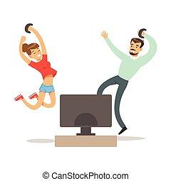 sauter, manches balai, gens, jouer, couple, avoir, heureux, jeu, vidéo, enjôleur, jeu, amusement, partie informatique, intérieur, gamers, apprécier