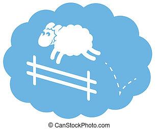 sauter, mouton, barrière, blanc