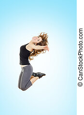 sauter, perte pondérale, femme, fitness, joie