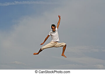 sauter, plage, homme