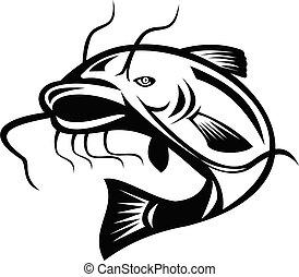 sauter, poisson-chat, blanc, retro, noir