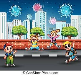 sauter, rue, rire, trottoir, enfants, heureux