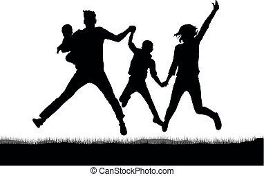 sauter, silhouette, famille, heureux