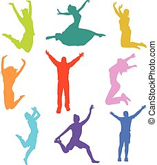 sauter, silhouette, gens