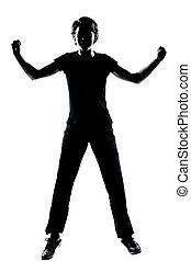 sauter, silhouette, girl, adolescent, heureux, garçon, une, ou, screamin, jeune