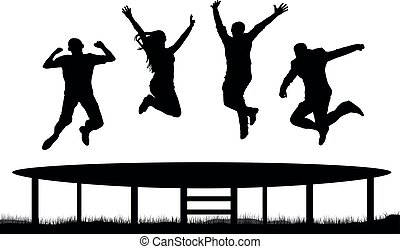 sauter, silhouette, trampoline, gens