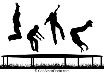 sauter, silhouettes, trampoline, jardin, enfants