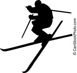 sauter ski, silhouette