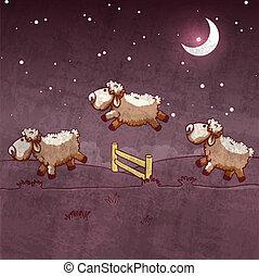 sauter, sleep., trois, les, compte, mouton, sur, fence.