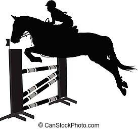 sauter, sport, jockey, cheval, obstacle, équestre, show., silhouette