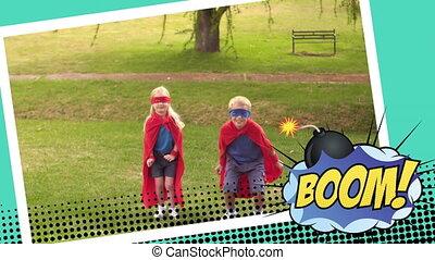 sauter, superhero, texte, contre, bulle, girl, parole, boom, déguisement, garçon
