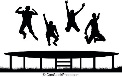 sauter, trampoline, gens