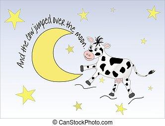 sauter, vache, sur, lune