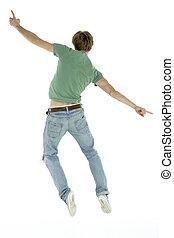 sauter, vue, dos, homme, air